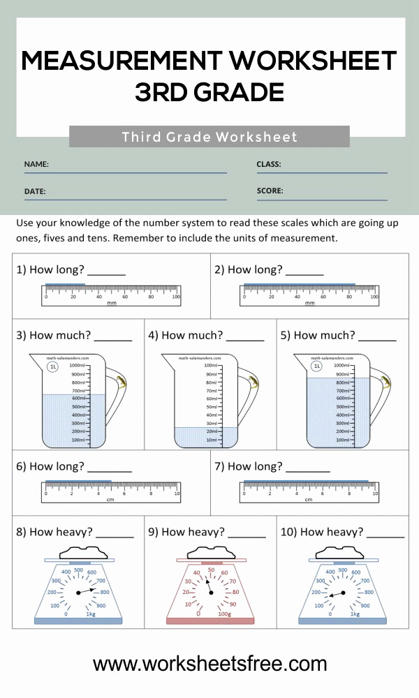 3rd Grade Measurement Worksheets Unique Measurement Worksheet 3rd Grade 3