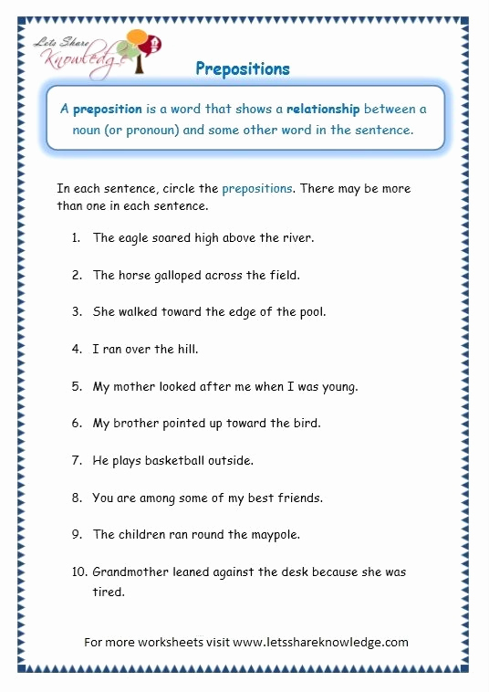 3rd Grade Preposition Worksheets Beautiful Worksheets for Grade 3 English Grammar Prepositions