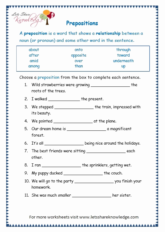 3rd Grade Preposition Worksheets Best Of Prepositions Worksheets with Answers