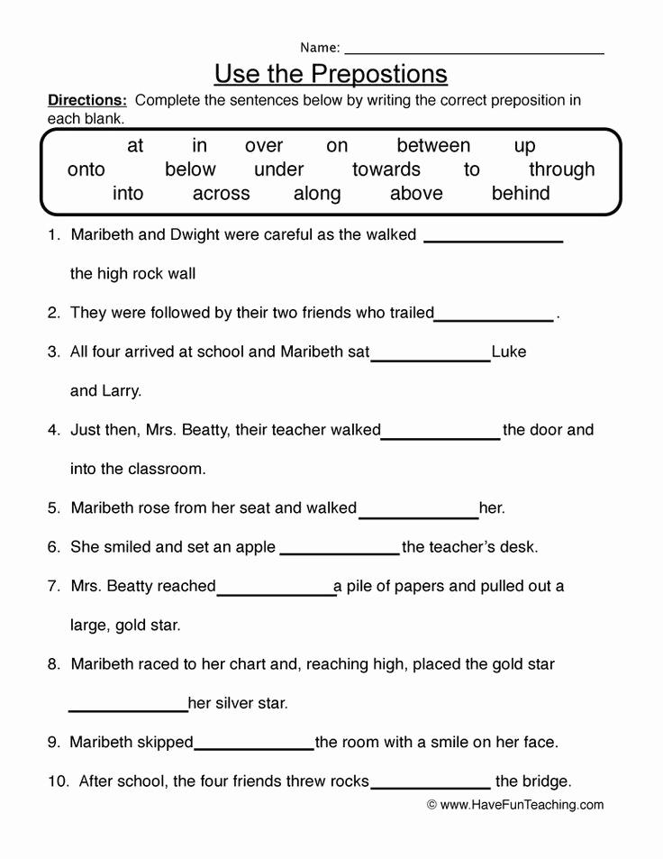 3rd Grade Preposition Worksheets Elegant Preposition Worksheets for 3rd Grade In 2020 with Images
