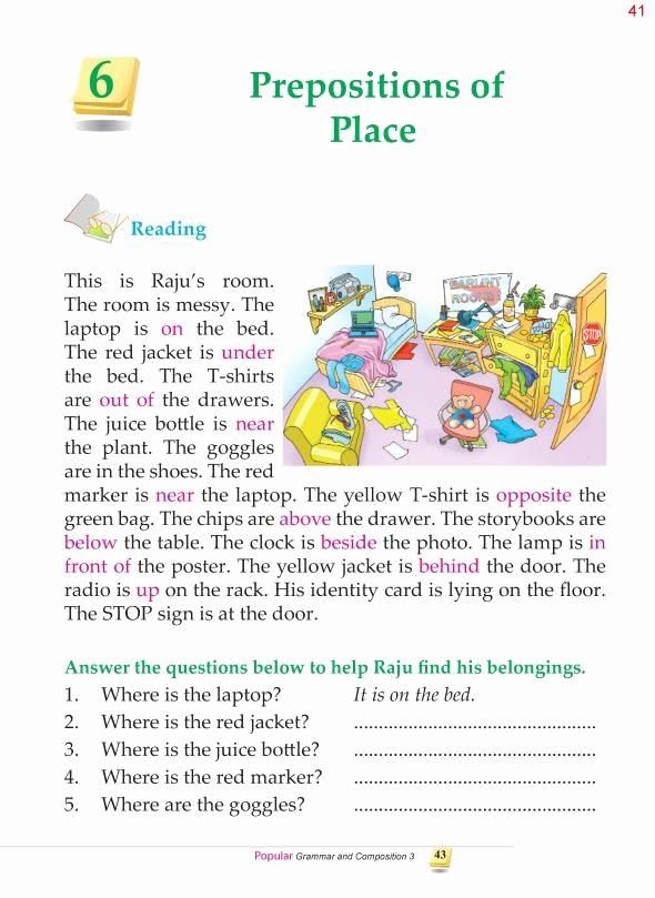 3rd Grade Preposition Worksheets Fresh Grammar 3rd Grade Grammar Prepositions Of Place