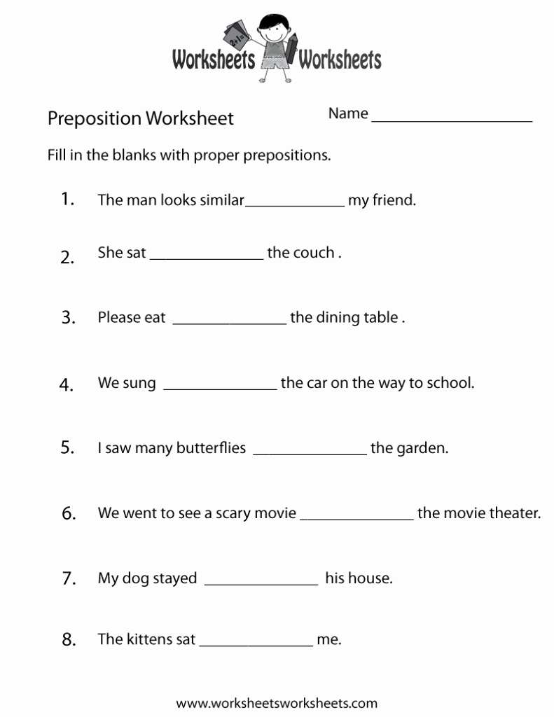 3rd Grade Preposition Worksheets Unique Worksheets for Grade 3 English Grammar Prepositions