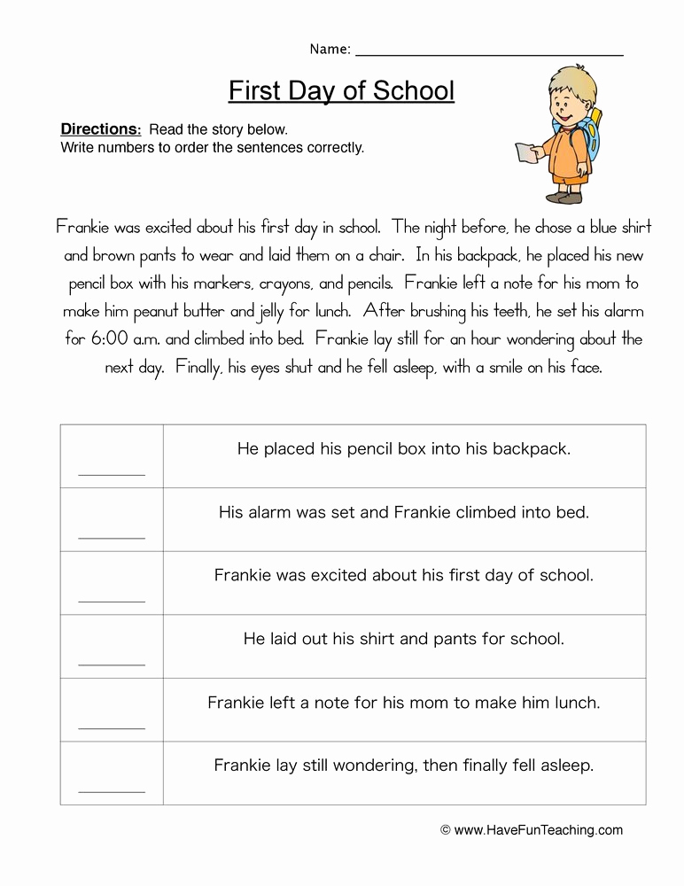 3rd Grade Sequencing Worksheets Unique Story Plot order Of events Worksheet • Have Fun Teaching