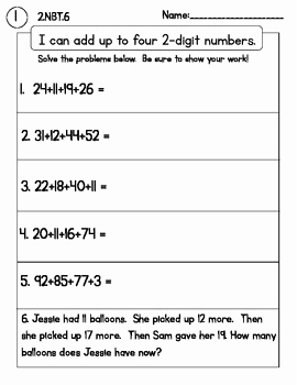 4 Nbt 6 Worksheets Best Of Addtion with Up to 4 Digits Packet 2 Nbt 6 No Prep