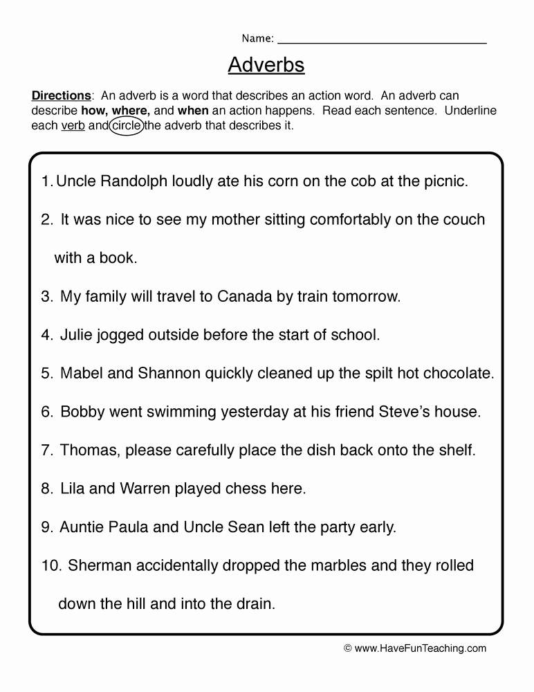 4th Grade Adverb Worksheets Beautiful Adverb Worksheets