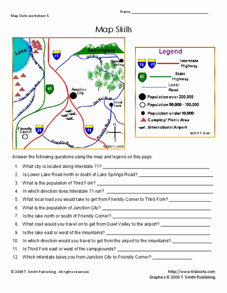 4th Grade Map Skills Worksheets Awesome Map Skills Worksheet for 2nd 4th Grade