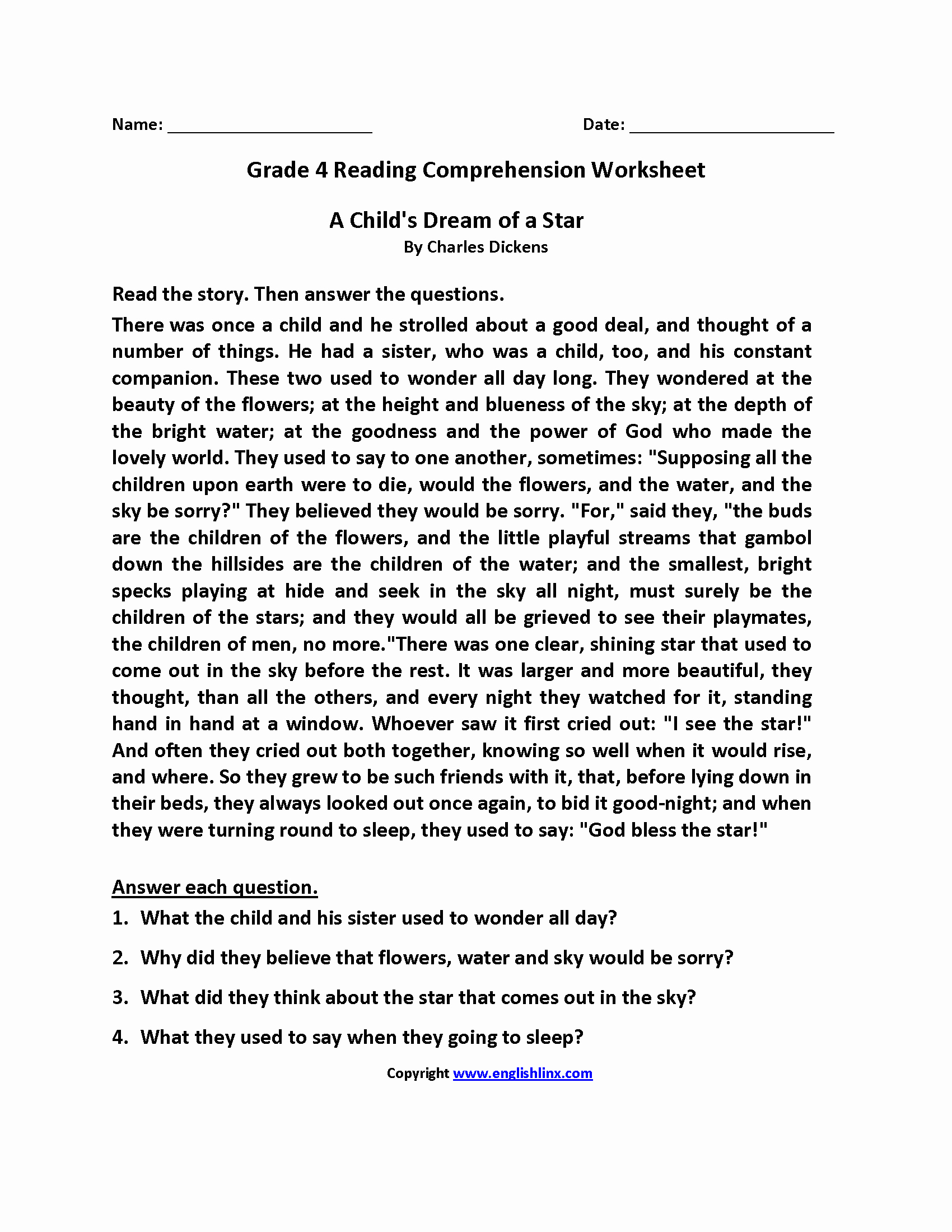 4th Grade Vocabulary Worksheets Pdf Best Of 4th Grade Reading Prehension Pdf