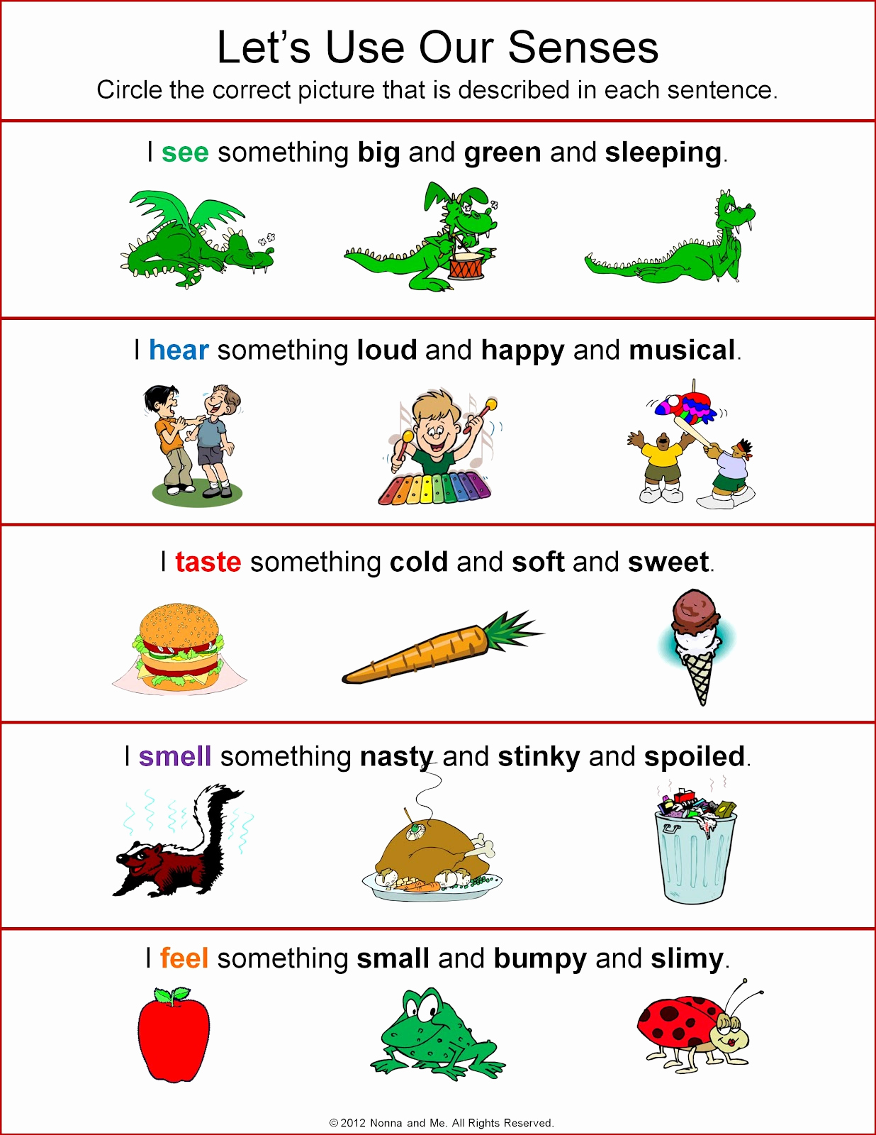 5 Senses Worksheets for Kindergarten Elegant Nonna and Me Let S Use Our Senses