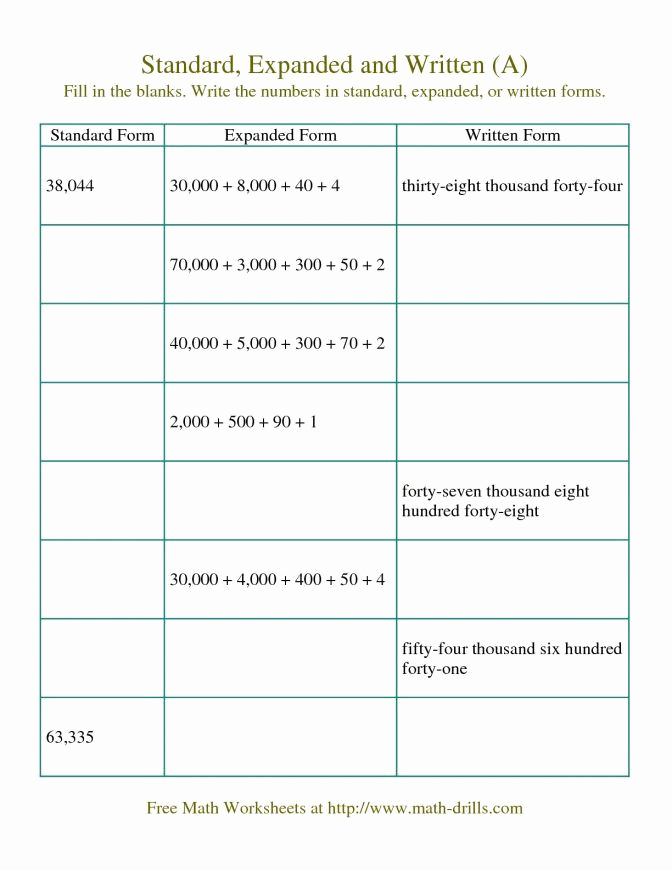 5th Grade Expanded form Worksheets Awesome Expanded form Worksheets 5th Grade and Expanded form Fill