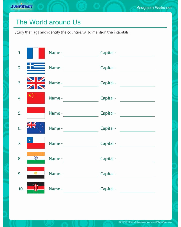 5th Grade Geography Worksheets Fresh the World Around Us 5th Geography Worksheet for Kids