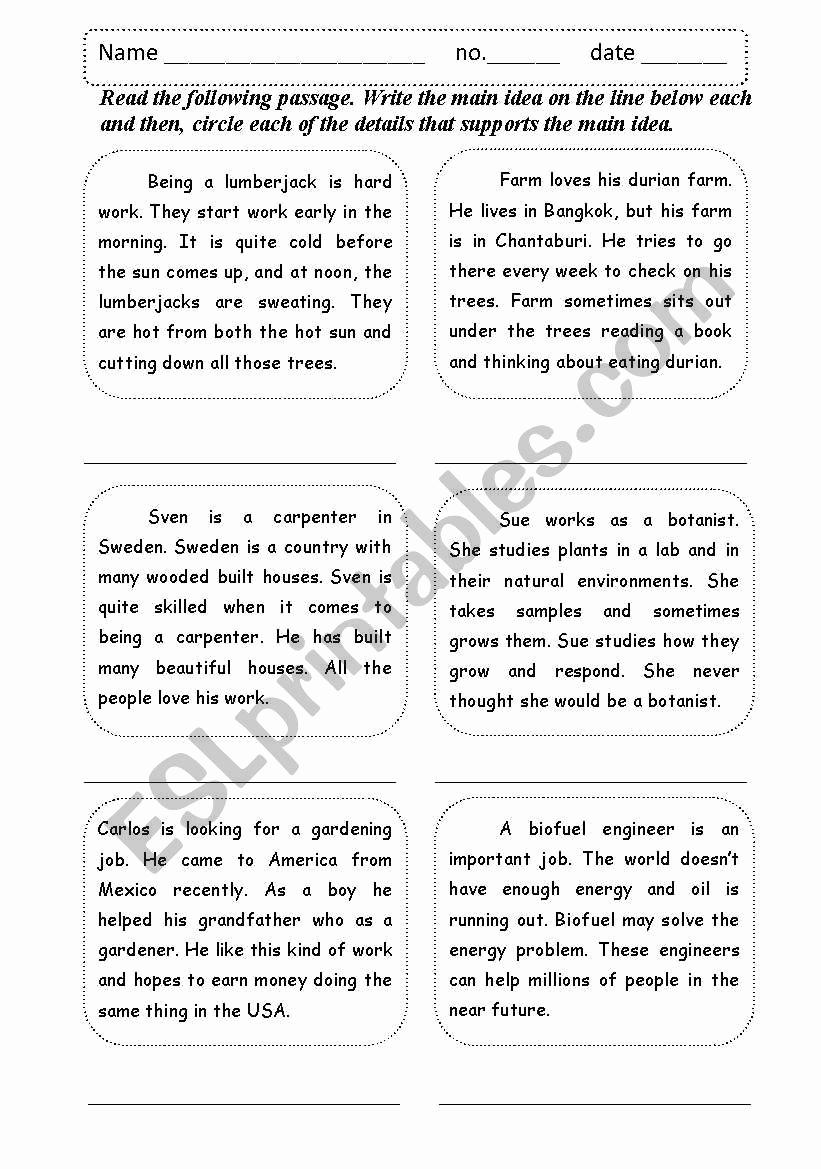 5th Grade Main Idea Worksheets Beautiful 20 Main Idea Worksheet 5th Grade