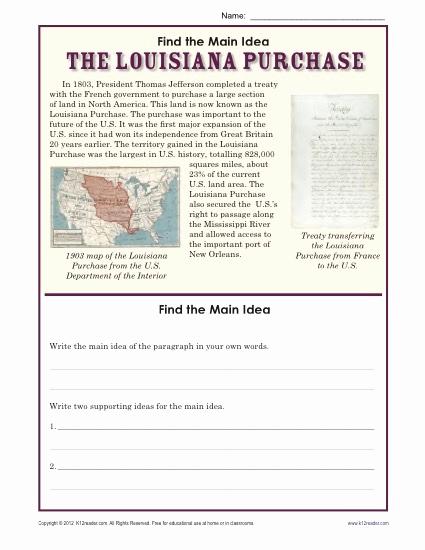 5th Grade Main Idea Worksheets Inspirational 5th Grade Main Idea Worksheet About the Louisiana Purchase