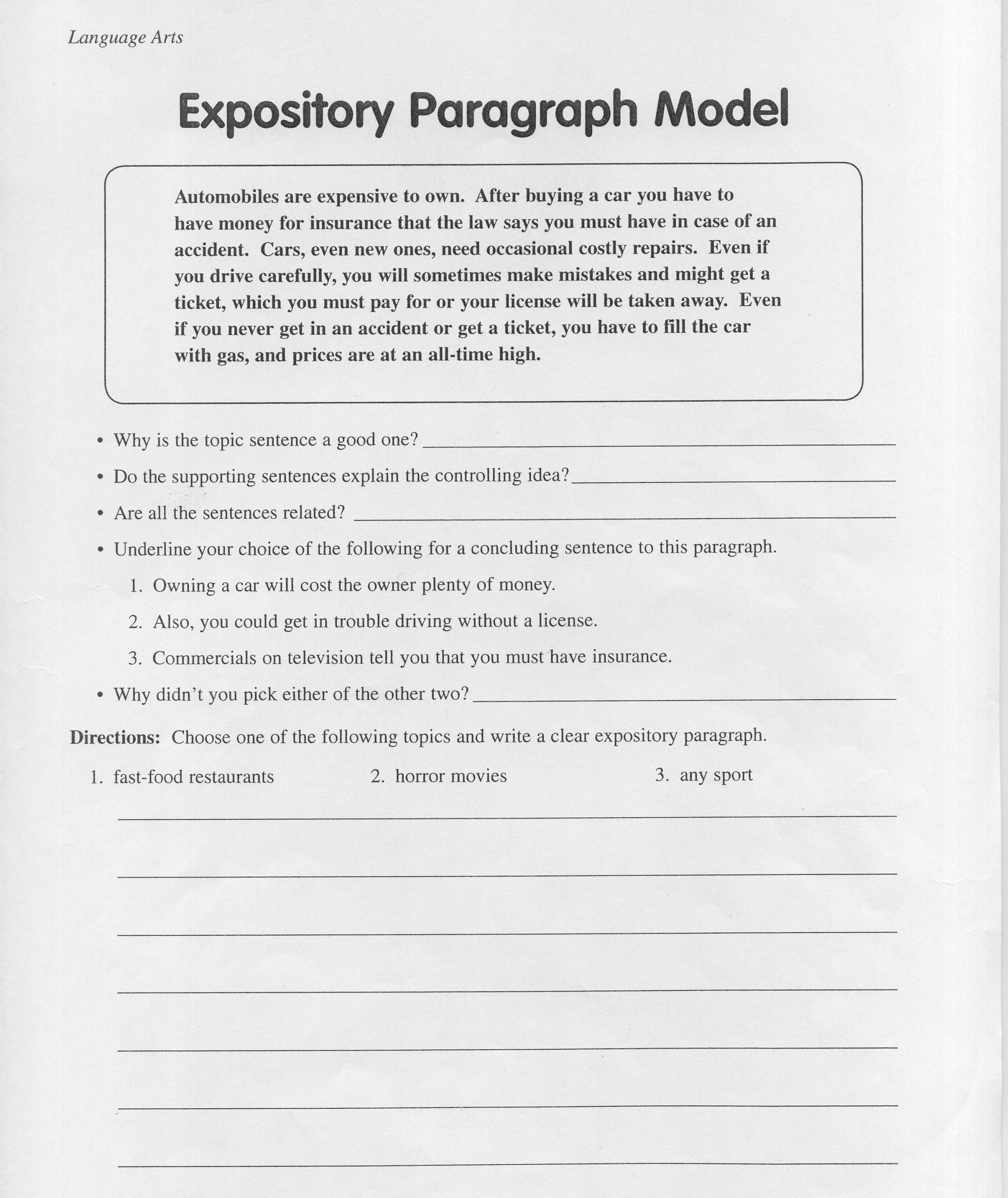 6th Grade Essay Writing Worksheets Best Of 6th Grade Paragraph Examples Paragraph Writing 2019 02 20