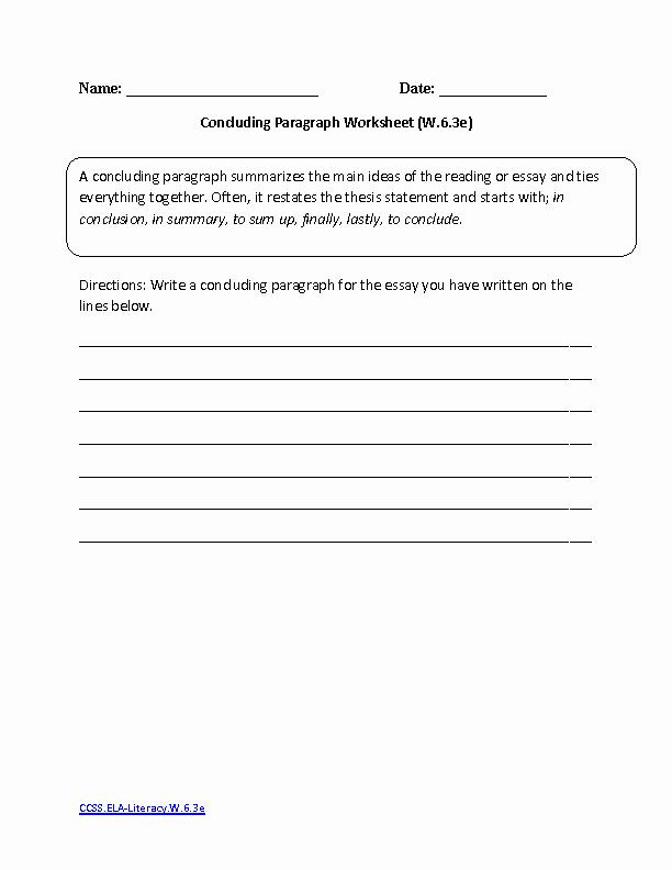 6th Grade Essay Writing Worksheets Inspirational 6th Grade Mon Core