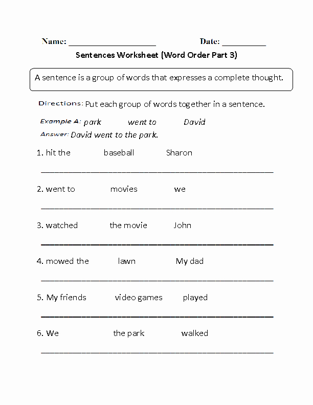6th Grade Sentence Structure Worksheets Best Of 17 Best Of Simple Sentence Worksheets 6th Grade