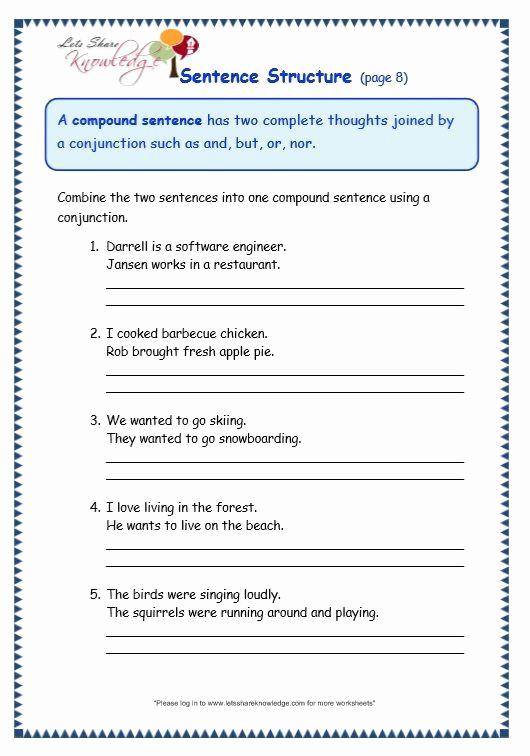 6th Grade Sentence Structure Worksheets Elegant Free Printable Sentence Structure Worksheets Grade 3