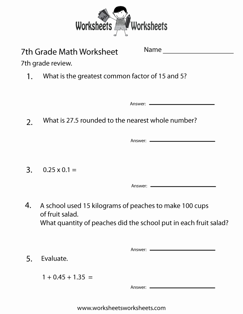 7th Grade Grammar Worksheets Pdf Best Of 7th Grade Math Review Worksheet Free Printable