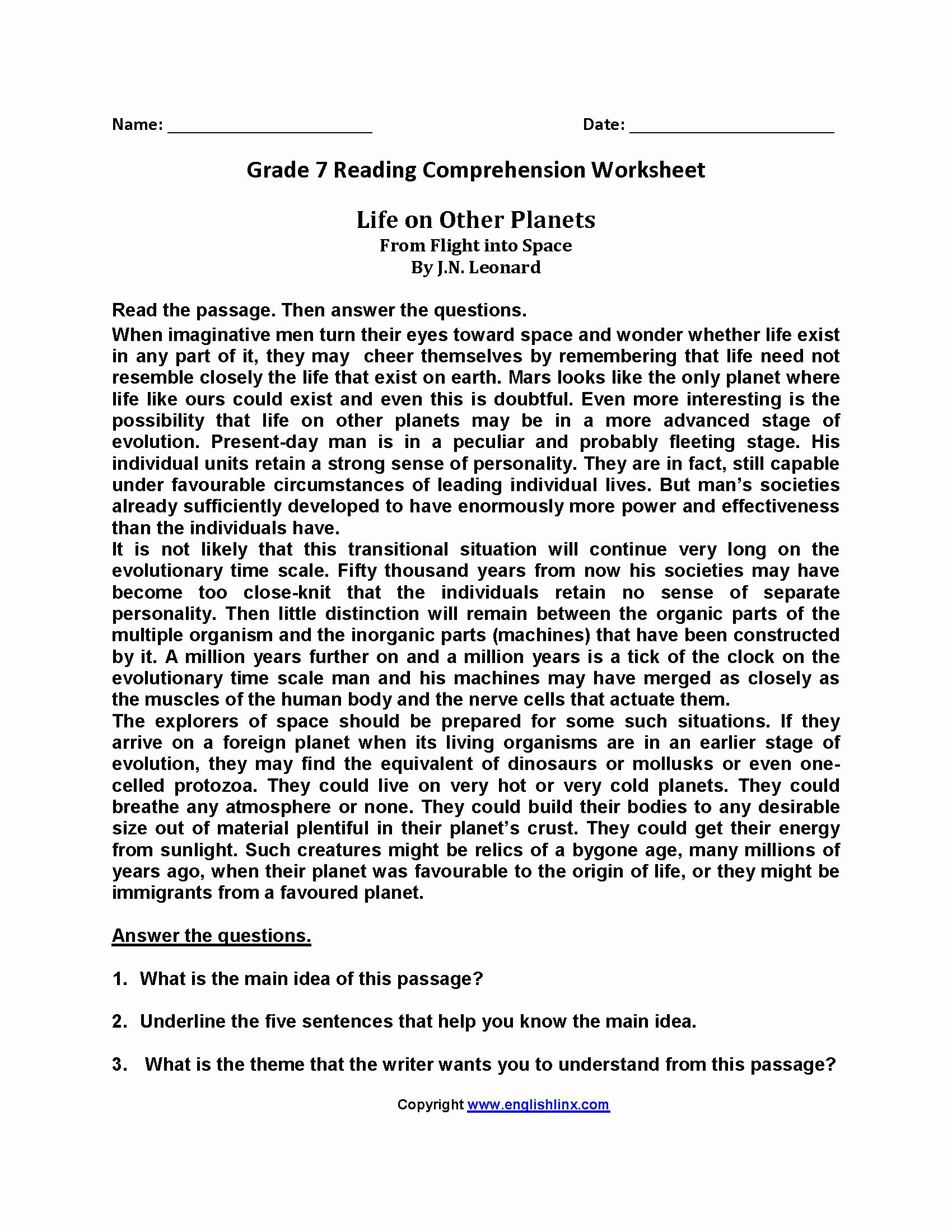 7th Grade Grammar Worksheets Pdf Fresh Prehension Passages for Grade 7 Pdf Favorite Worksheet