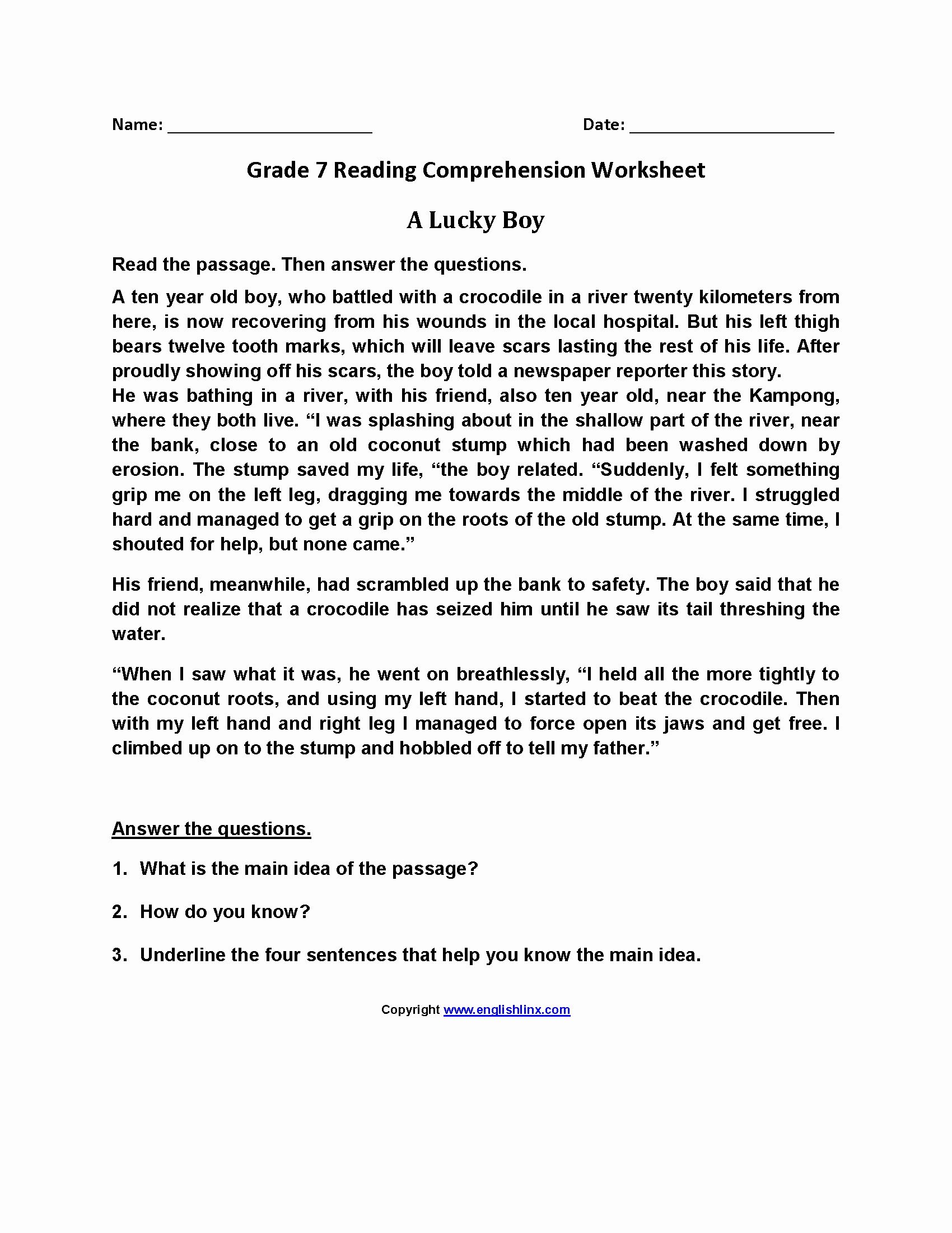 7th Grade Grammar Worksheets Pdf Lovely Prehension Passages for Grade 7 with Multiple Choice