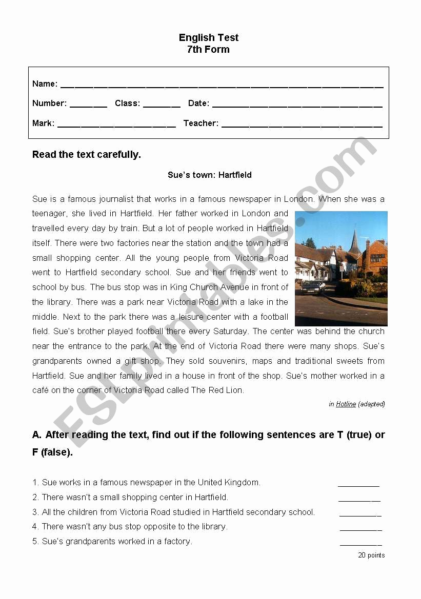 7th Grade Grammar Worksheets Pdf New English Test 7th Grade Part I Esl Worksheet by