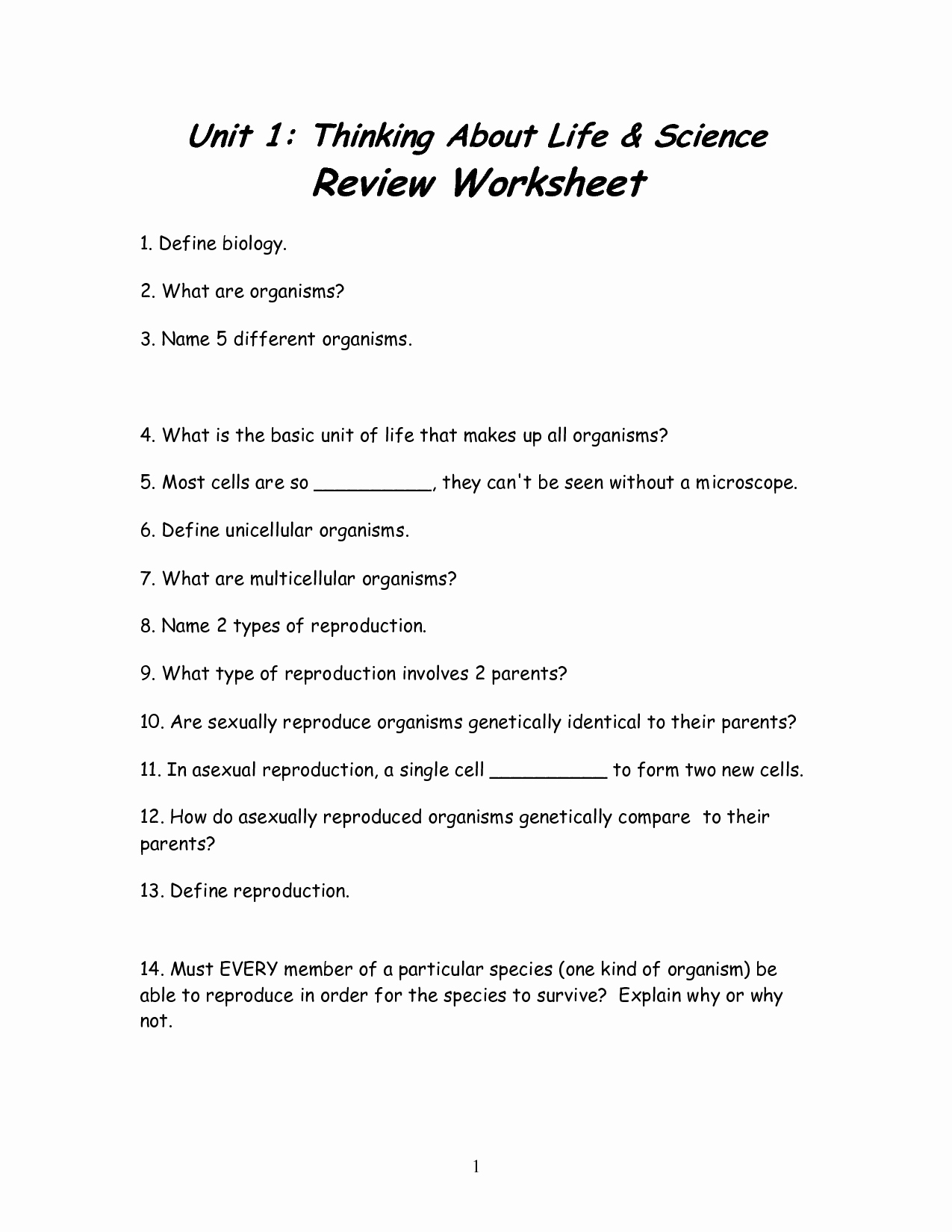 7th Grade Life Science Worksheets Beautiful 12 Best Of Science Worksheets All Cells 7th Grade