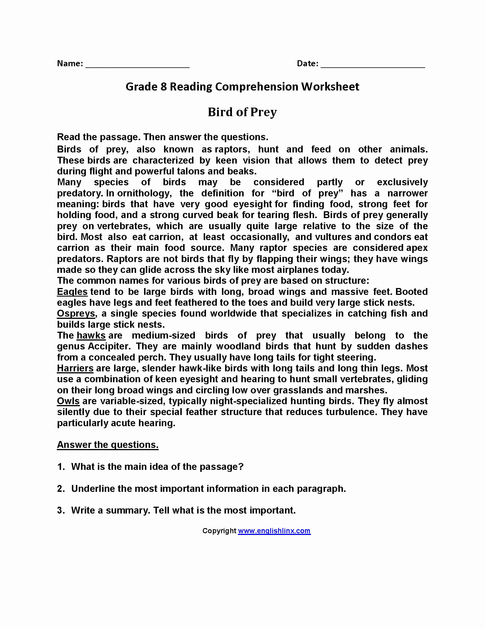 8th Grade Reading Worksheets Awesome 8th Grade Reading Prehension Worksheets — Db Excel