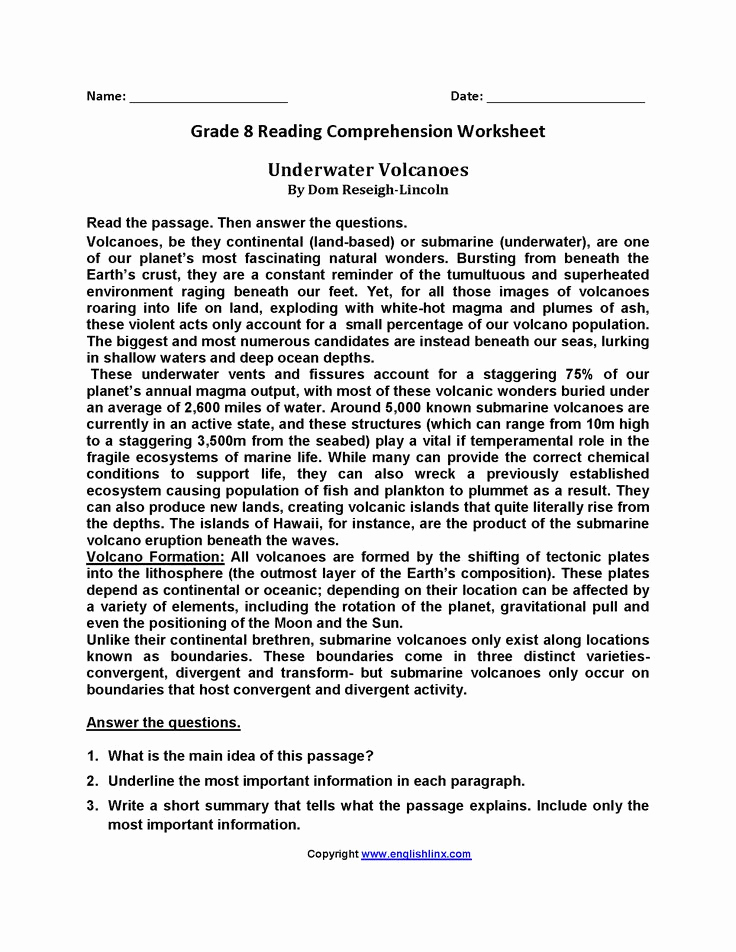8th Grade Reading Worksheets Awesome Eighth Grade Reading Worksheets