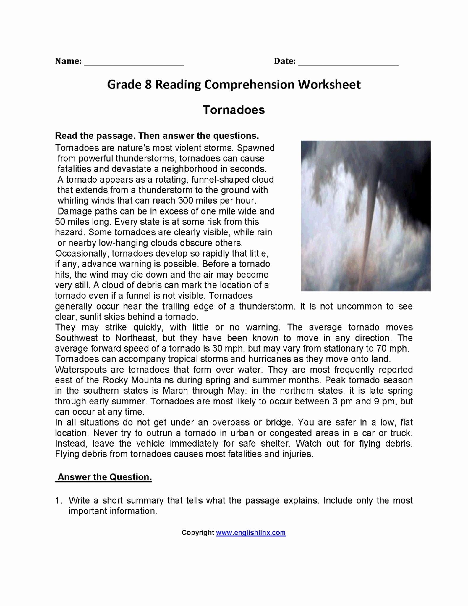 8th Grade Reading Worksheets Best Of 9th Grade Reading Prehension Worksheets