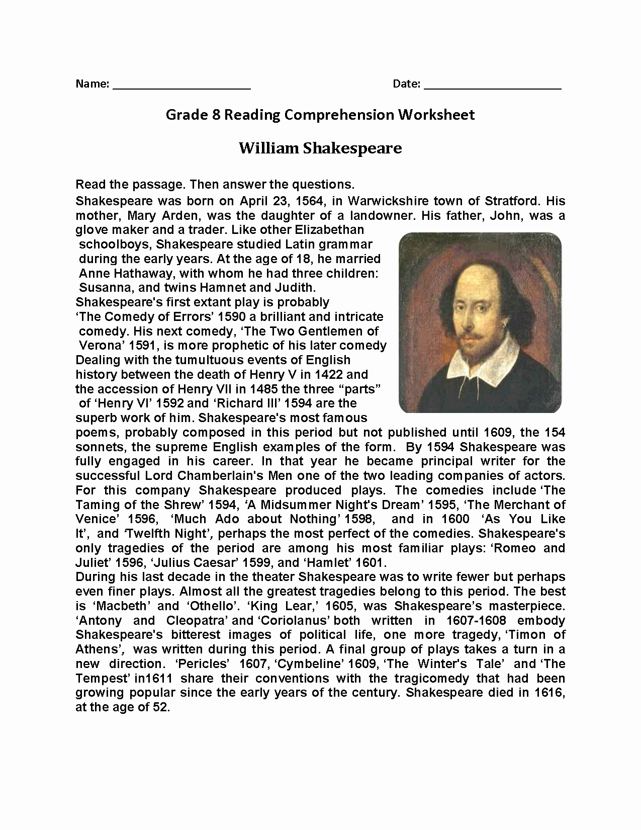 8th Grade Reading Worksheets Best Of William Shakespeare Eighth Grade Reading Worksheets