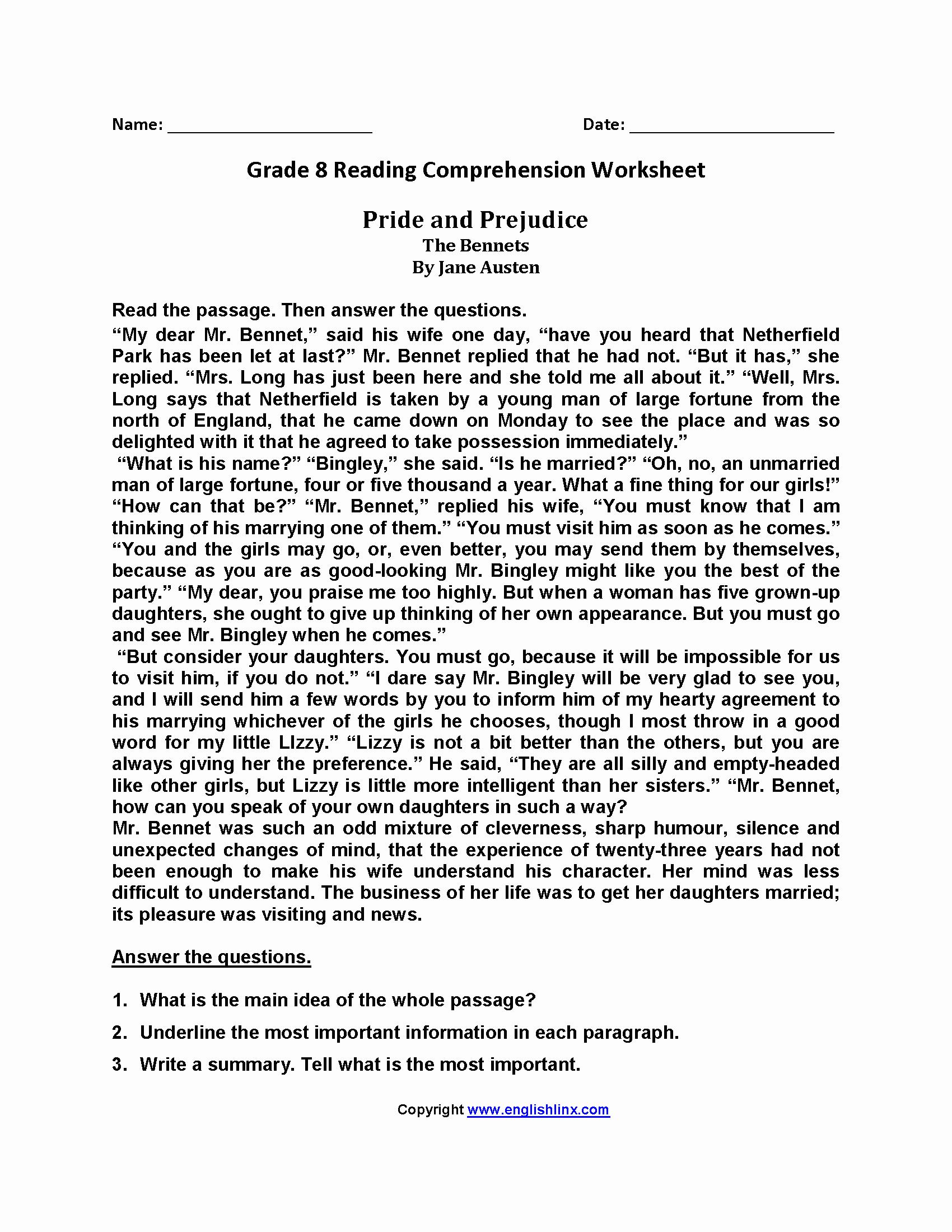 8th Grade Reading Worksheets Elegant 22 Best Worksheets 8th Grade English Language Images On