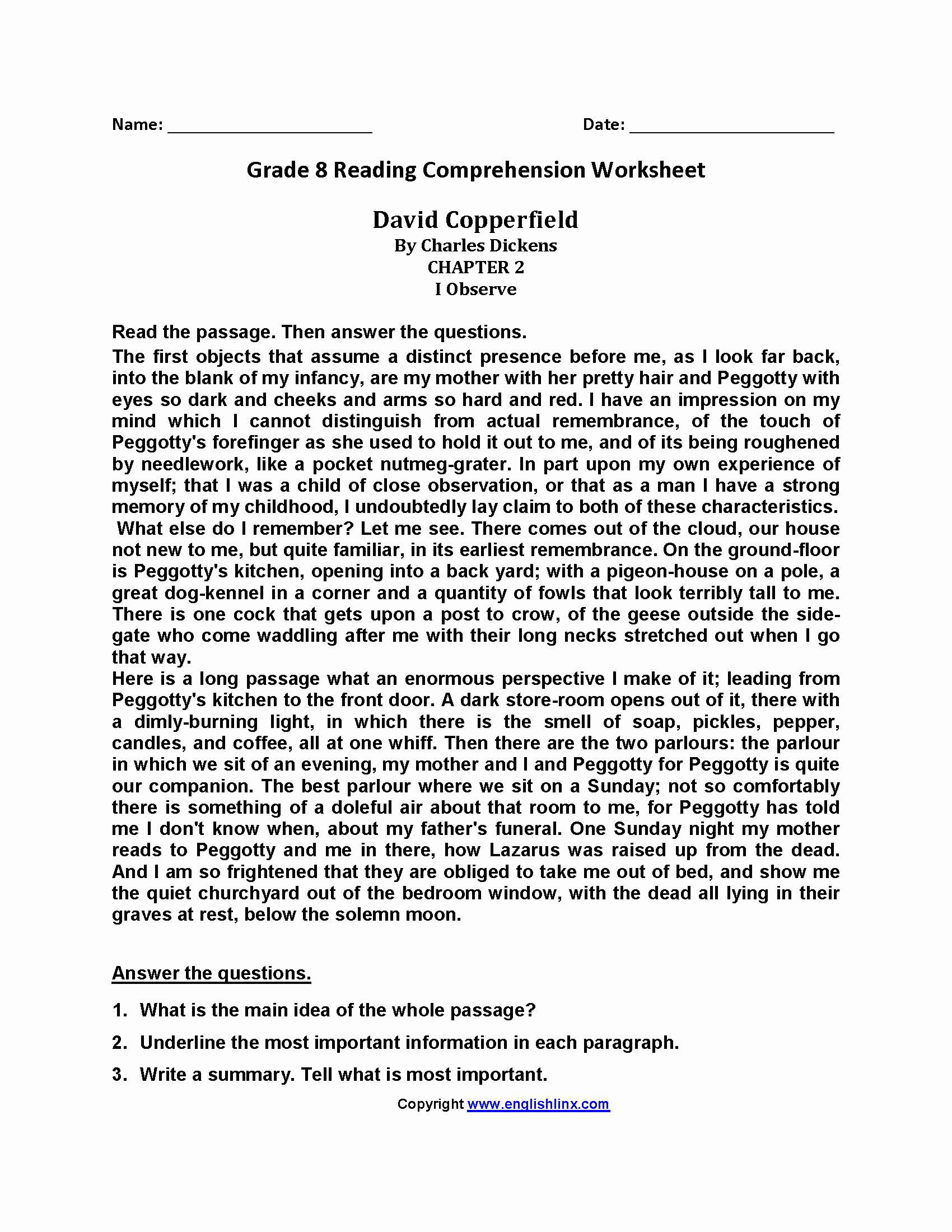 8th Grade Reading Worksheets Elegant David Copperfield Eighth Grade Reading Worksheets