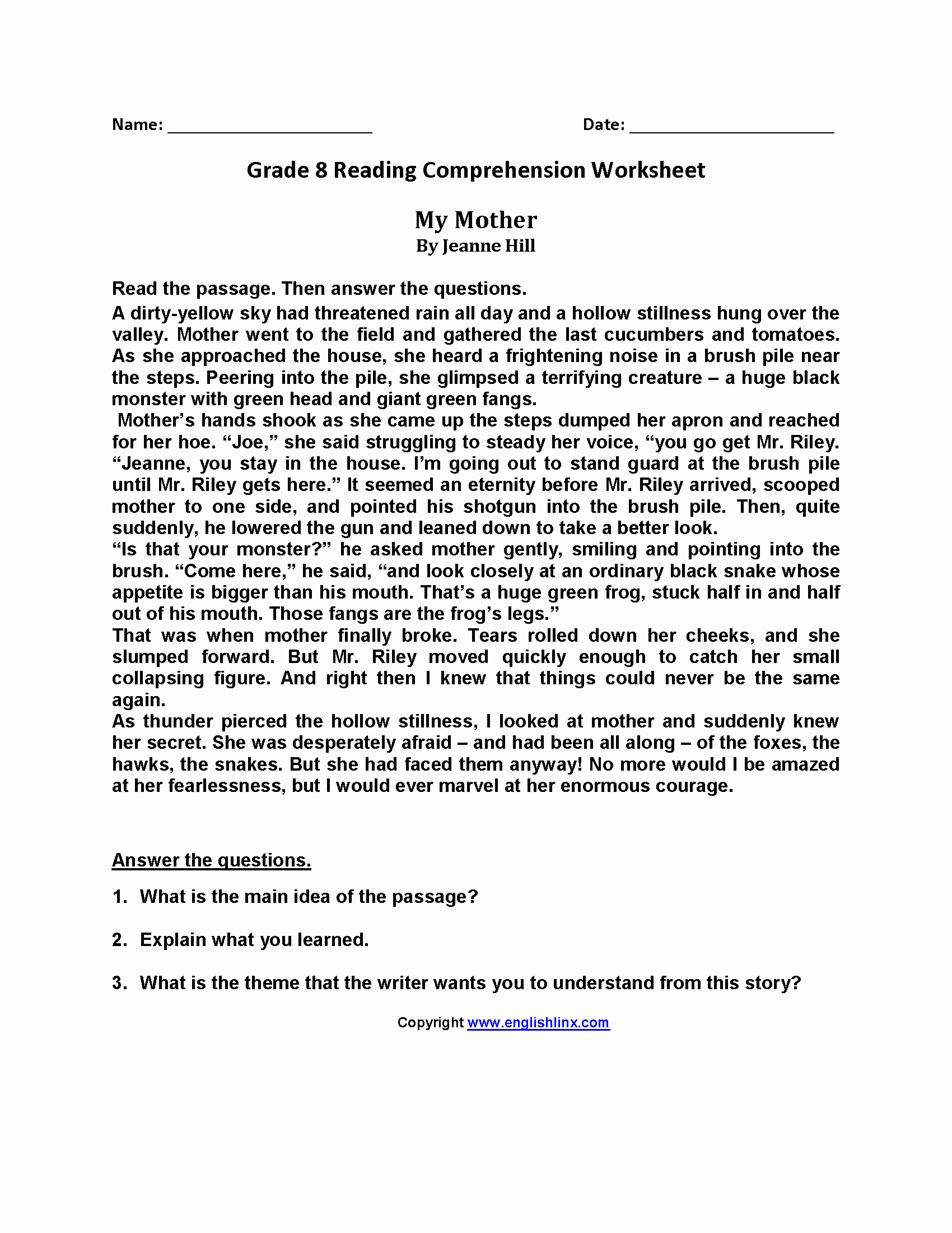 8th Grade Reading Worksheets Elegant English Reading Passages for Grade 8 Google Search