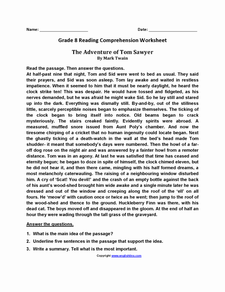 8th Grade Reading Worksheets Lovely 8th Grade Reading Worksheets — Db Excel