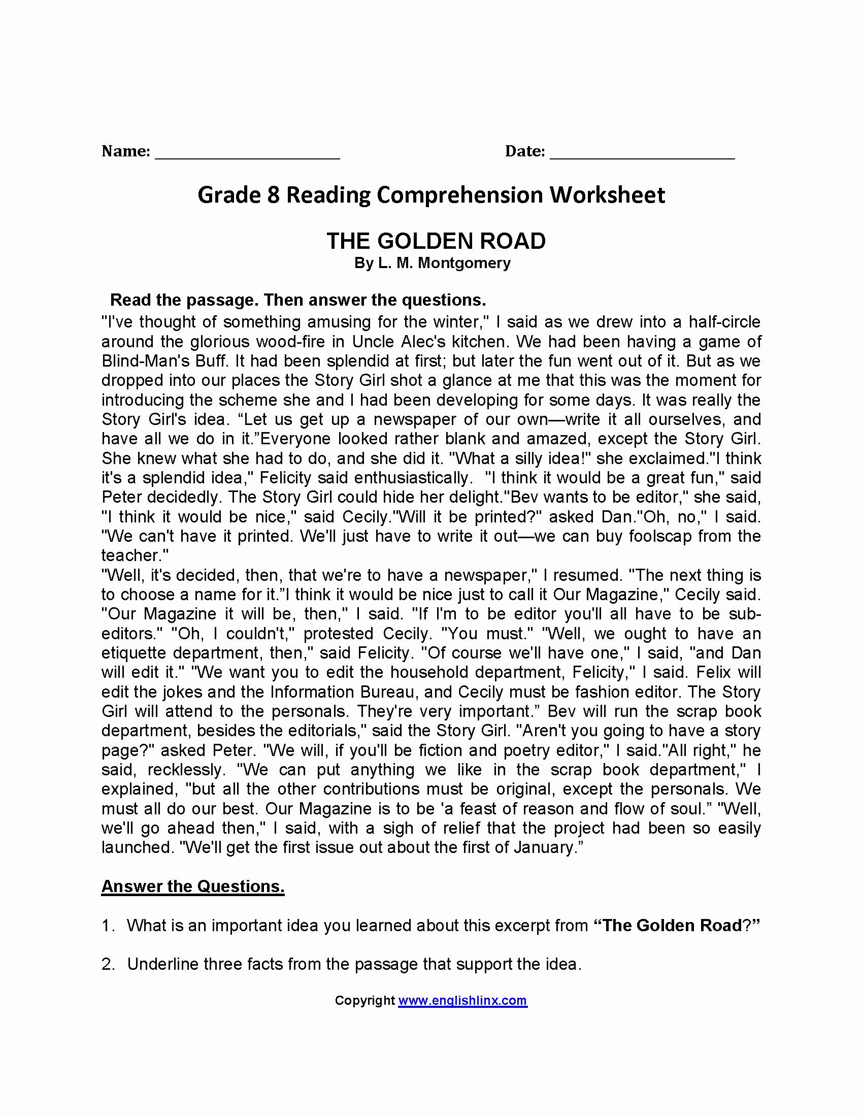 8th Grade Reading Worksheets Lovely Reading Worksheets