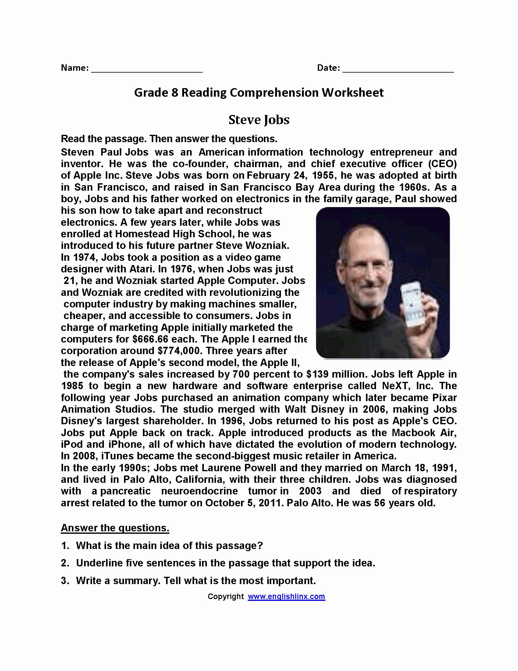 8th Grade Reading Worksheets Lovely Steve Jobs Eighth Grade Reading Worksheets