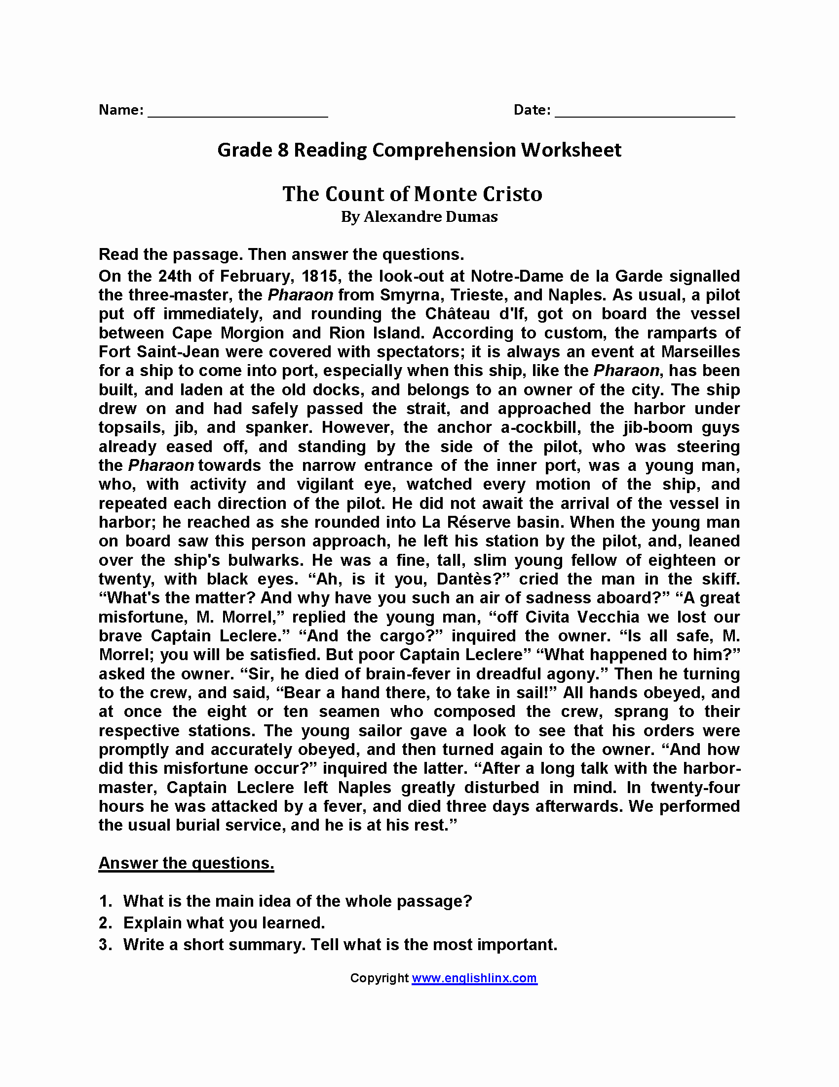 8th Grade Reading Worksheets Luxury Reading Worksheets