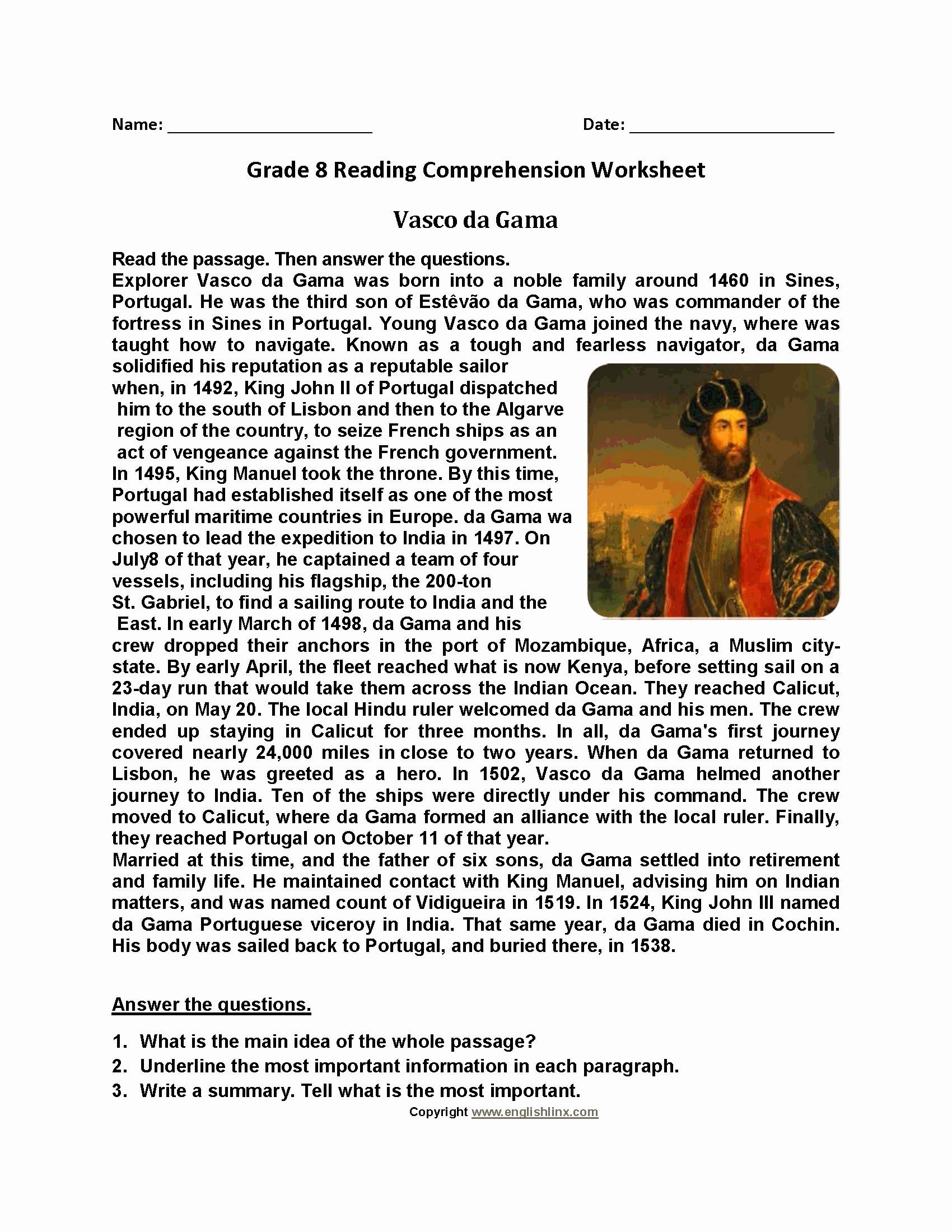 8th Grade Reading Worksheets Luxury Vasco De Gama Eighth Grade Reading Worksheets