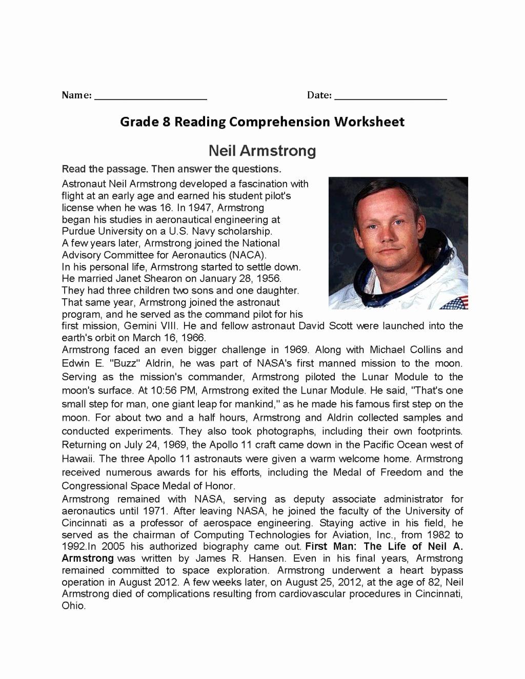 8th Grade Reading Worksheets New 8th Grade Reading Prehension Worksheets — Db Excel