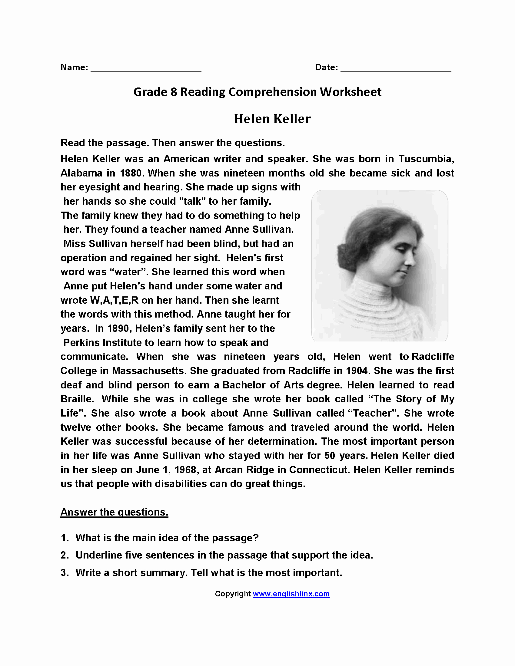 8th Grade Reading Worksheets New Reading Worksheets