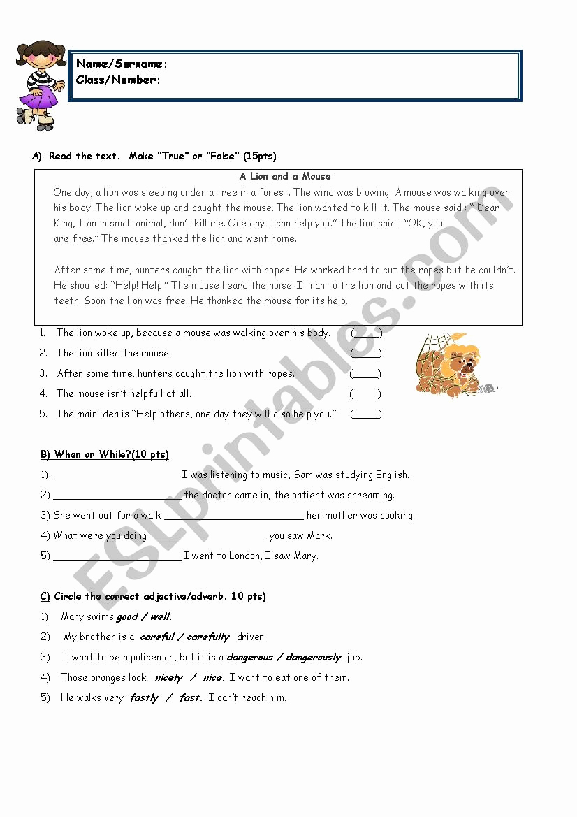8th Grade Reading Worksheets Unique 8th Grade with Reading Esl Worksheet by Sukrupasa