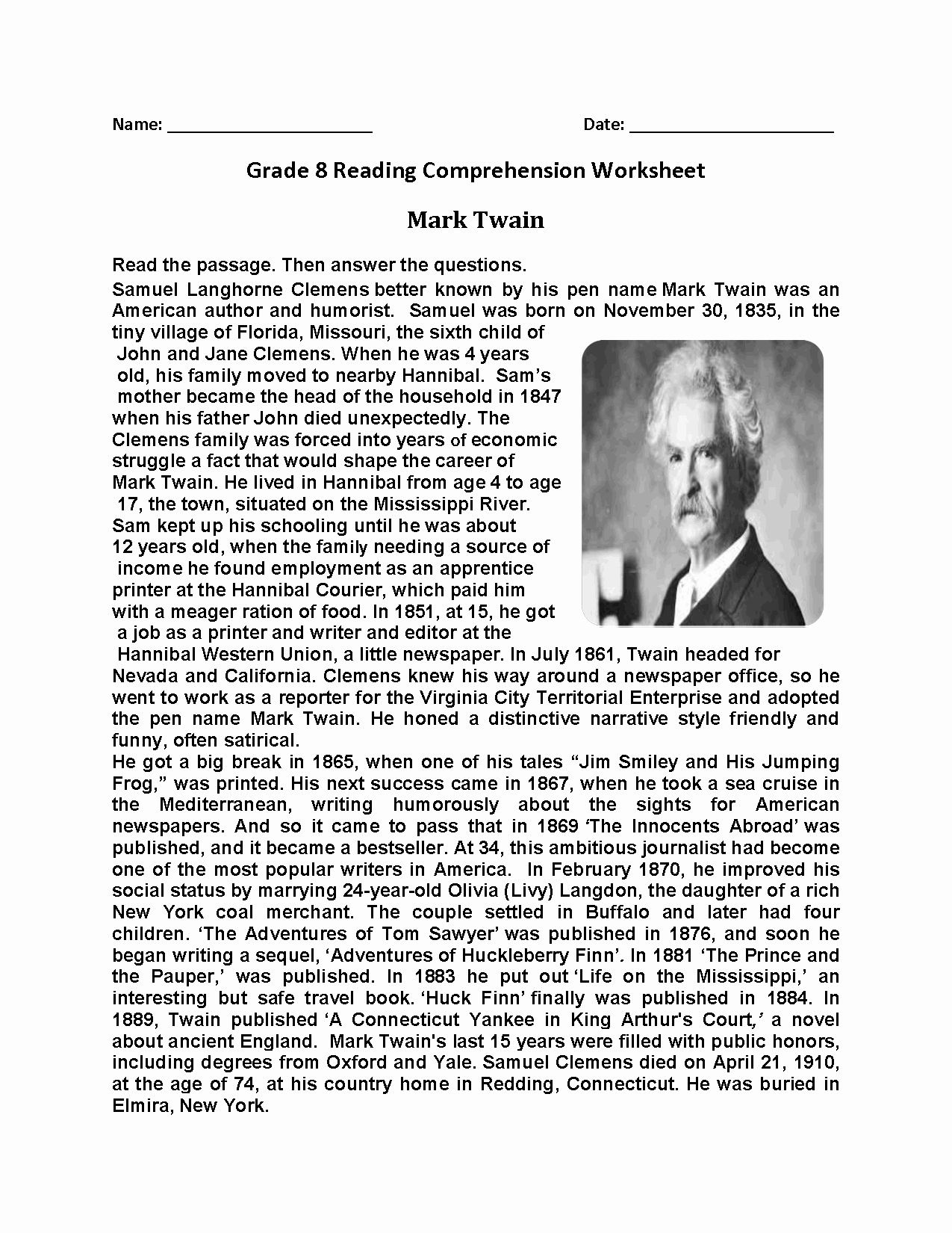 8th Grade Reading Worksheets Unique Reading Worksheets