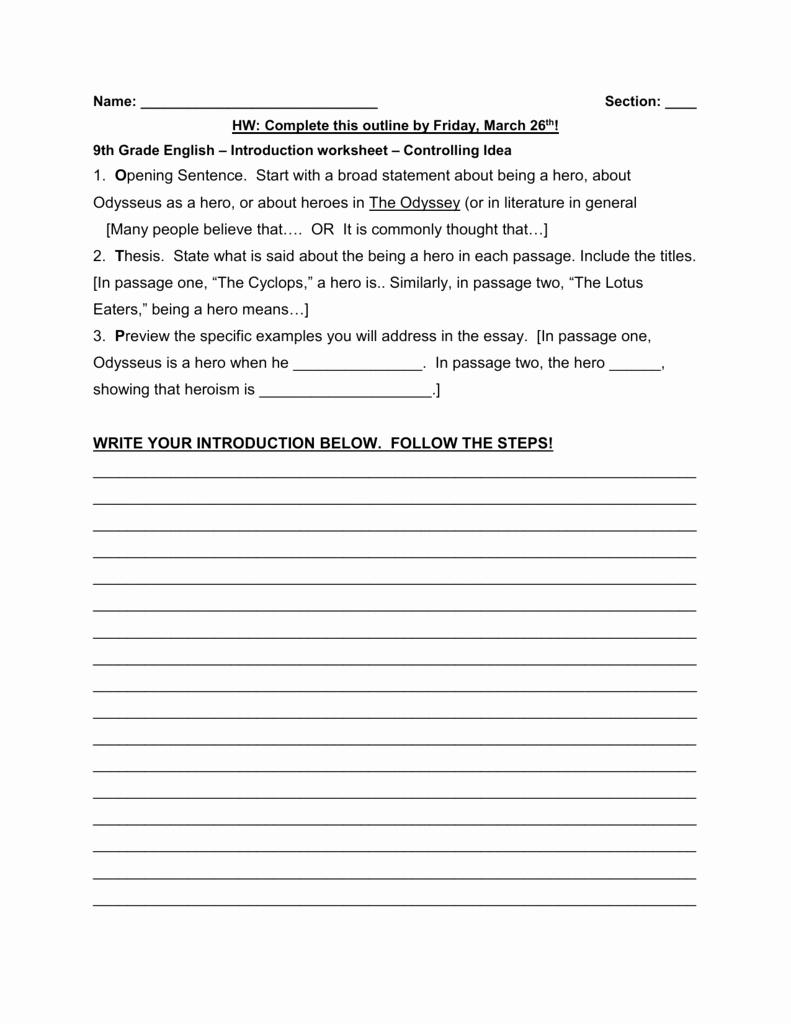 9th Grade Writing Worksheets Beautiful 9th Grade English – Introduction Worksheet – Controlling Idea