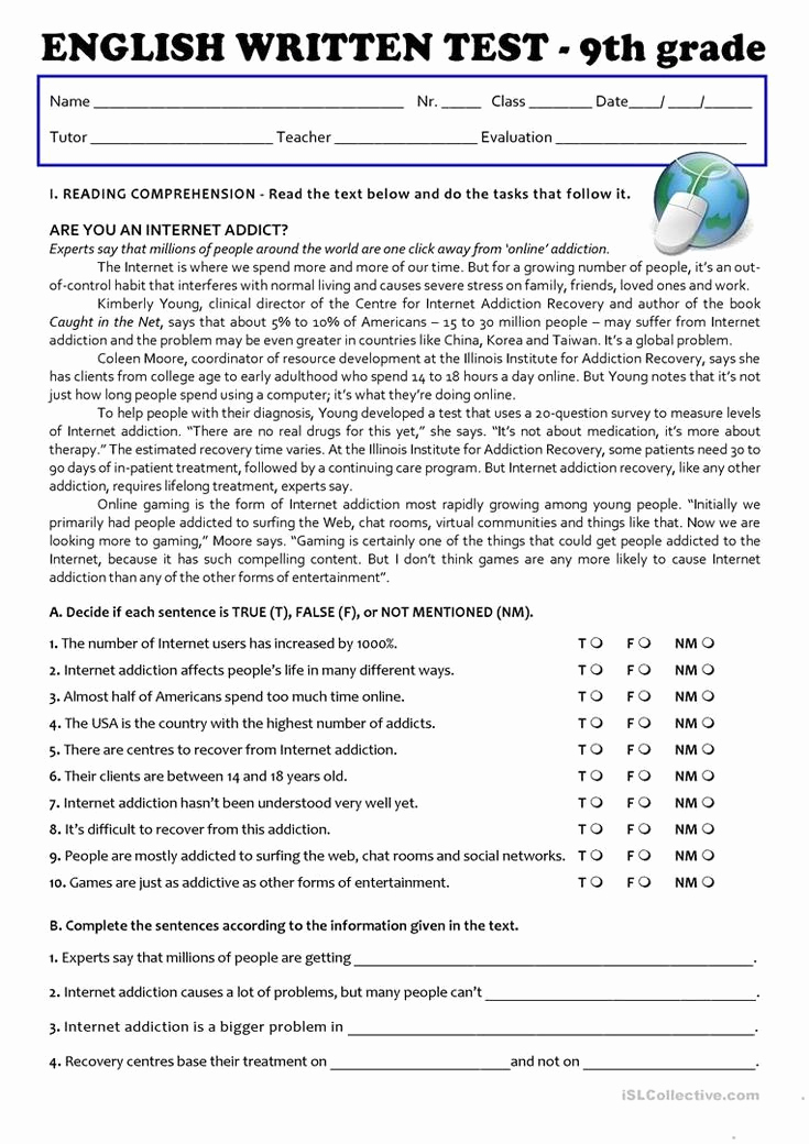 9th Grade Writing Worksheets Lovely 9th Grade Printable Worksheets the Internet Test 9th Grade