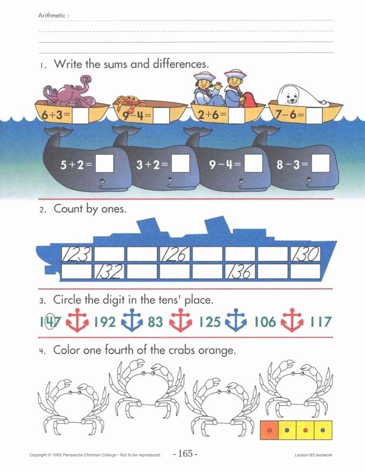 Abeka 3rd Grade Math Worksheets Beautiful 4th Grade Abeka Math Worksheets Arithmetic 1 with