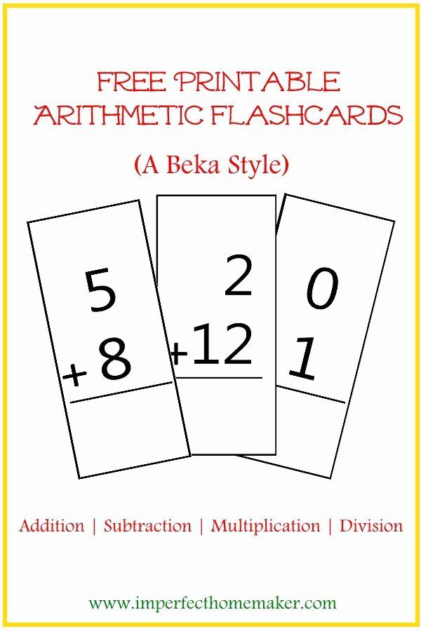 Abeka 3rd Grade Math Worksheets New Free Printable Abeka Style Arithmetic Flash Cards