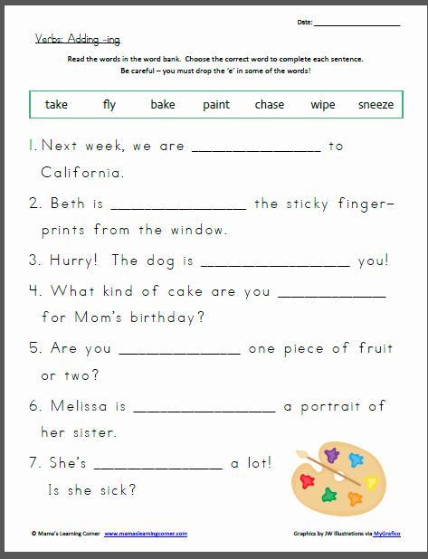 Adding Ed and Ing Worksheets Awesome Verbs Adding Ing Mamas Learning Corner