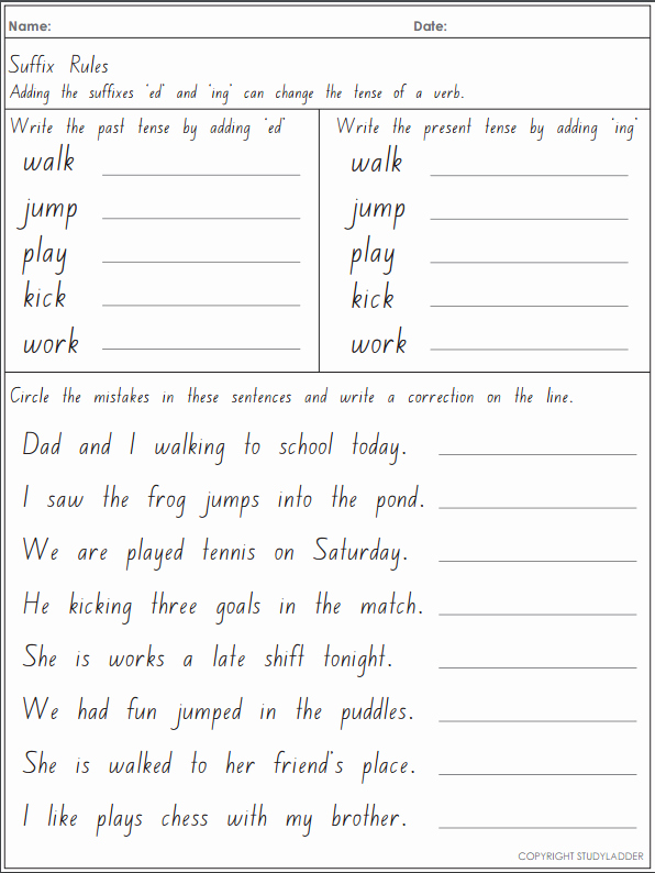 Adding Ed and Ing Worksheets Lovely Rule Adding Suffixes Ed and Ing Changes the Tense Of