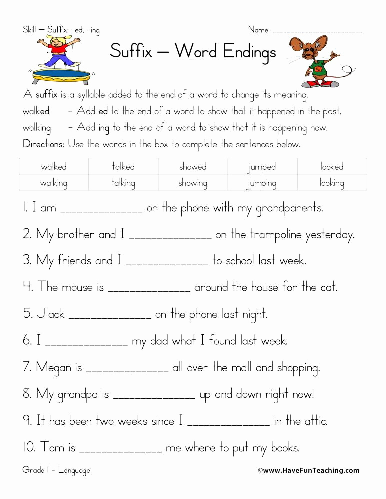 Adding Ed and Ing Worksheets Luxury Suffix Ed and Ing Worksheet