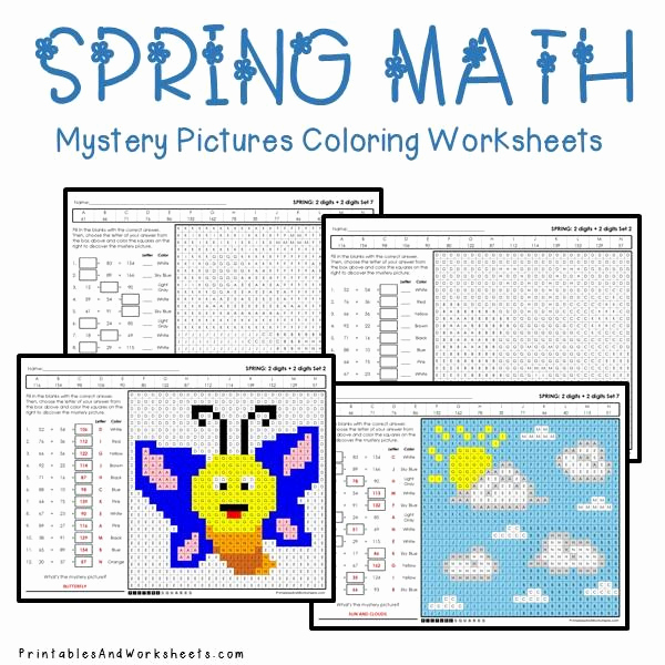 Addition Mystery Picture Worksheets Beautiful Spring Addition Mystery Coloring Worksheets