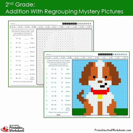 Addition Mystery Picture Worksheets Best Of 2nd Grade Addition with Regrouping Mystery